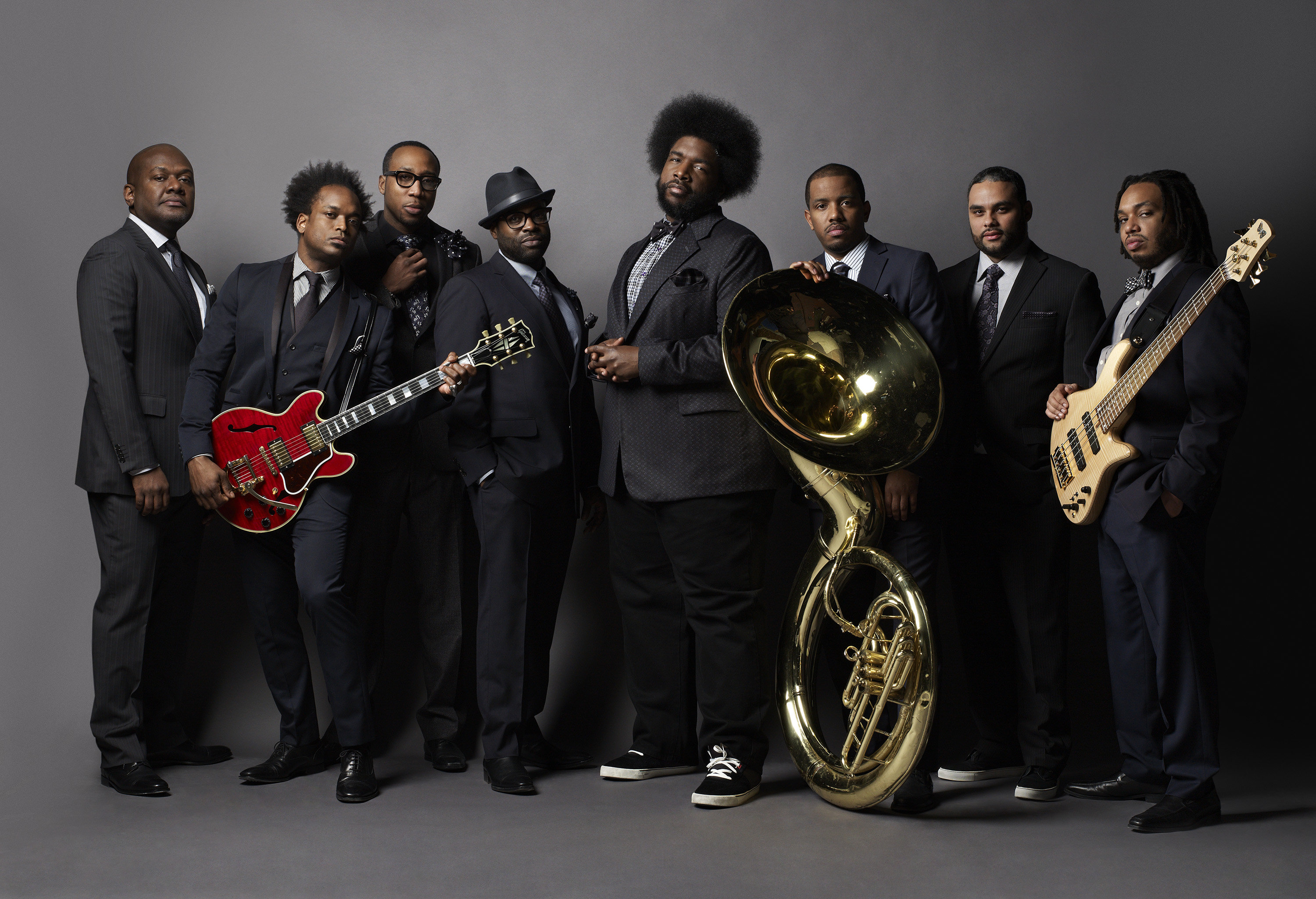 "THE TONIGHT SHOW STARRING JIMMY FALLON -- Season: 5 -- Pictured: (l-r) James Poyser, Kirk ""Captain Kirk"" Douglas, Frank ""Knuckles"" Walker, Tariq ""Black Thought"" Trotter, Ahmir ""?uestlove"" Thompson, Damon ""Tuba Gooding Jr."" Bryson, James ""Kamal"" Gray, Mark Kelley -- (Photo by: Mark Seliger/NBC)"